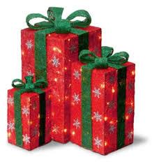 Christmas Yard Decoration Images Amazon Com Set Of 3 Tall Red Sisal Gift Boxes Lighted Christmas