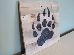 Wood Decor by Bear Paw Print Grizzly Black Brown Reclaimed Pallet Wood Wooden