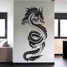 popular chinese dragon wall buy cheap chinese dragon wall lots 45x95cm tribal tattoo classic chinese dragon wall decal sticker decor wall art vinyl mural individual art