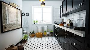 kitchen brown patterned wood floor industrial kitchen chrome