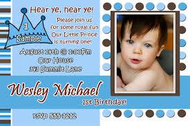 1st Year Baby Birthday Invitation Cards Little Prince Birthday Invitation
