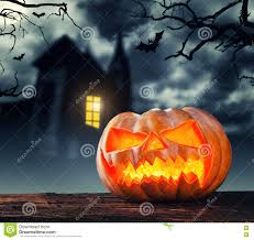 scary halloween pumpkin with horror background stock photo image