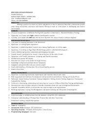 Career Goals Examples For Resume by Manual Testing Sample Resume Software Testing Resume Sample