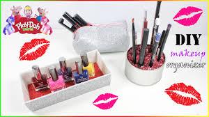 sparkly makeup bag diy brush and nail polish organizer youtube