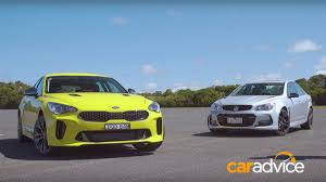 holden kia stinger measured against holden commodore ss v redline