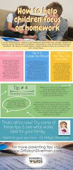 A great  Infographic for  parents who need tips on helping their children  focus