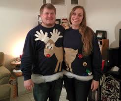 easy reindeer couples ugly sweater 5 steps