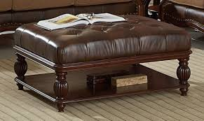 decorate with leather ottoman coffee table home decorations ideas image of brown leather ottoman coffee table