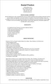 Ex Military Resume Examples by Professional Infantryman Templates To Showcase Your Talent