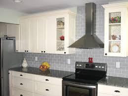Cream Subway Tile Backsplash by Gray Glass Subway Tile Backsplash In Cream Kitchen Cabinet With
