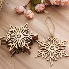 10pcs wood snowflake leaf shaped christmas tree hanging ornament
