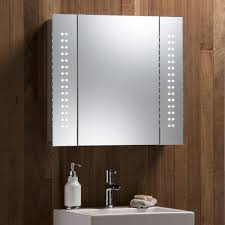 illuminated bathroom mirror cabinet with wire free demister shaver