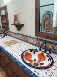 double sink bathroom vanity using mexican tiles by