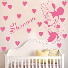 online get cheap minnie mouse decals aliexpress com alibaba group cartoon customized name kids room decoration decals personalized minnie mouse wall sticker removable baby room decals