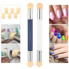practical nail art double ended sponge brush with extra 4 sponge