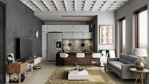 Interior Design Kitchen Living Room 23 Open Concept Apartment Interiors For Inspiration Masculine