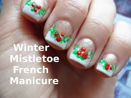 winter mistletoe french manicure nail art design easy tutorial for