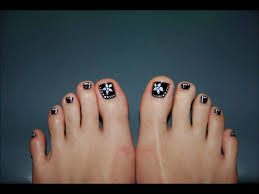 black and white toe nail art design youtube