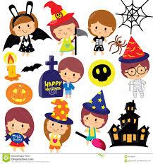 halloween vector art halloween kids clip art set stock vector image 45186461