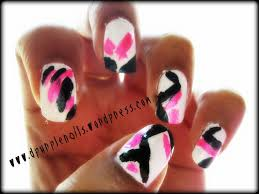 neon pink with black and white nails got a style