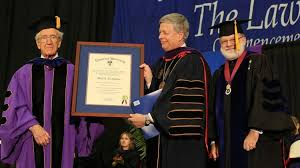 Duquesne University School of Law presented an honorary degree to Mark Nordenberg  center  Pitt The Business Journals