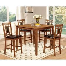Counter Height Dining Room Tables by Amazon Com Furniture Of America Bennett 5 Piece Light Oak