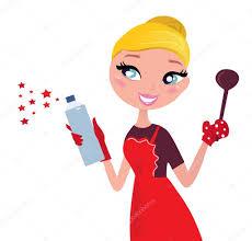 cute christmas cooking u0026 cleaning housewife retro u2014 stock vector