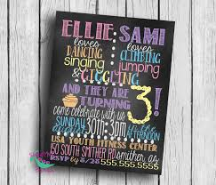 customized twin birthday party invitation 3rd birthday