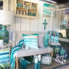 aqua mint blue turquoise window display at our home decor shop