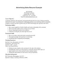 Resume Examples  Advertising Sales Resume Example With Career Objective And Professional Ability In Relationship Client