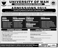 University of Wah Cantt Admission in BBS BSc MS MPhil PhD Programs