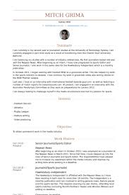 Sports Editor Resume Samples   VisualCV Resume Samples Database VisualCV