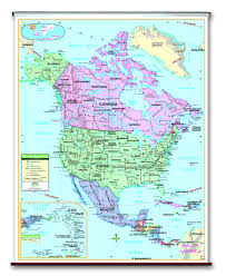 Political Map Of United States And Canada by Spring Roller Wall Maps One Map Place Inc