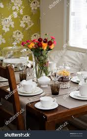 elegant table setting afternoon coffee tea stock photo 60148498