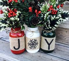 christmas holiday burlap mason jars set of 3 christmas ideas at