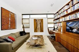 Home Office Combined With Living Rooms For Small Spaces Living - Family room office
