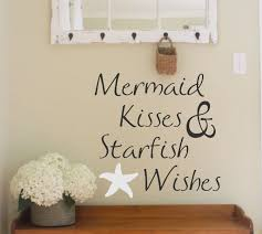 beach wall decal etsy vinyl wall decal mermaid kisses starfish wishes lettering decor beach themed words