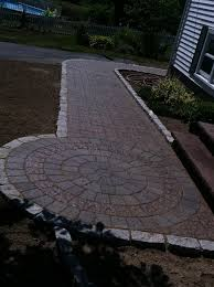 walkway ideas for backyard paver walkway w circle with cobble stone edging by araujo