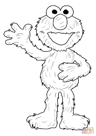 elmo waving hello coloring page free printable coloring pages