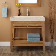 Bathroom Vanity Designs by Bathroom Brown Wooden Open Shelf Vanity With Rectangle White Sink