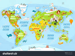 Kids World Map Cartoon World Map Funny Animalssea Creaturesvarious Stock Vector