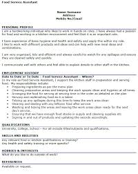Resume Examples For Food Service by Food Service Assistant Cv Example Icover Org Uk