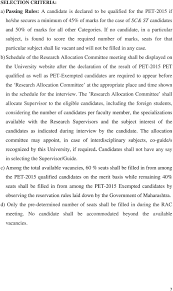 Swami Ramanand Teerth Marathwada University  Nanded Prospectus for     DocPlayer net b  Schedule of the Research Allocation Committee meeting shall be displayed on the University website