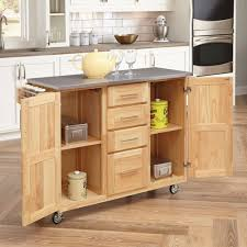 home styles stainless steel top kitchen cart with breakfast bar