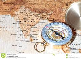 Ancient India Map by Travel Destination India Ancient Map With Vintage Compass Stock