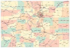State Map United States by Detailed Administrative Map Of Colorado State With Roads And