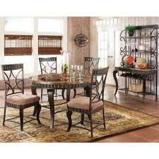 steve silver hamlyn marble top dining table set in spanish brown
