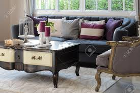 luxury living room design with classic sofa armchair and