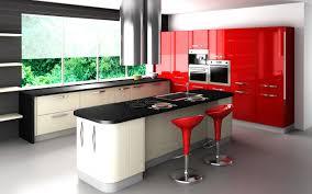 contemporary furniture modern kitchen red cabinet black white