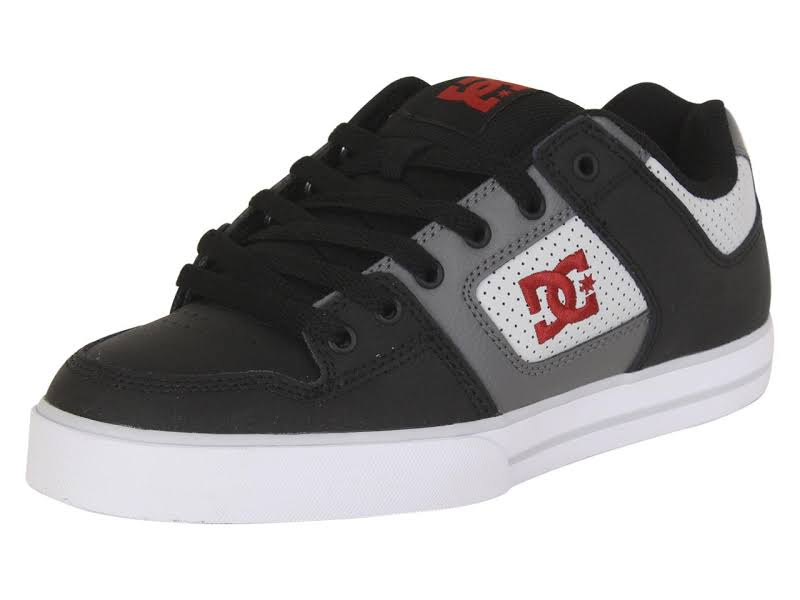 DC Pure 300660 Black Gray Leather Lace Up Athletic Skate Shoes